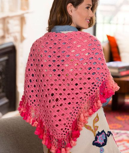 Fringed V-Stitch Shawl Free Crochet Pattern in Red Heart Yarns