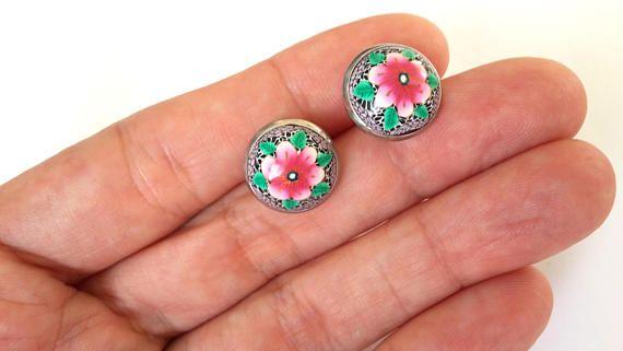 Stud Earrings, Polymer Clay Earrings, Flower Earrings, Polymer Clay Studs