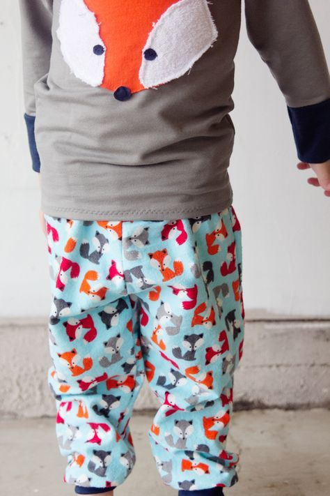 BOYS PAJAMA PANTS PATTERN and Fox Applique
