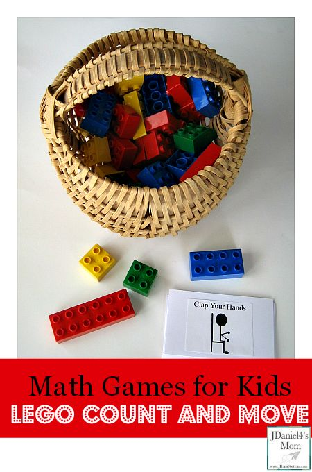 Math Games for Kids- LEGO Count and Move (Free Action Card Printable Available for Download)