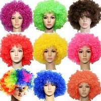 Wish | Halloween Party Afro Wigs Colorful Christmas Cosplay Hairs Clown Funny Wig New football fans wigs