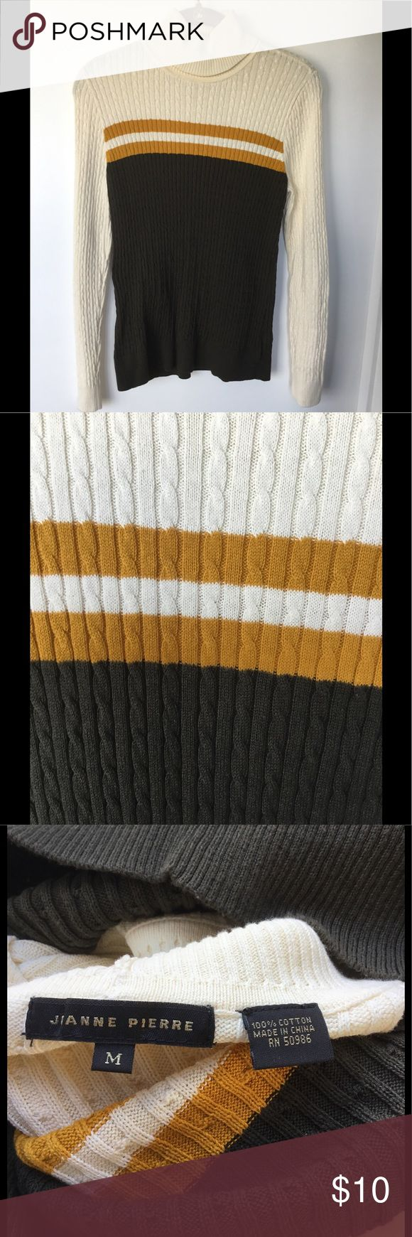 EUC Retro Striped Cotton Turtleneck EUC Retro Striped Cotton Turtleneck in cream, gold, and hunter green. Soft and comfy. Worn 1x. Please submit reasonable offers via the 'Offer' function. NO negotiating in the comments section, trading or alternate site transactions. All items from my smoke-free, dog-friendly closet. Jianne Pierre Sweaters Cowl & Turtlenecks
