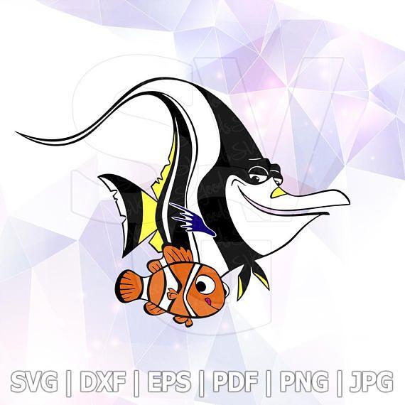 SVG DXF Finding Dory Nemo Gill Moorish Idol Layered Cut EPS Disney Cartoon Party Cricut Designs Silhouette Cameo Stencil Transfer Iron Decal