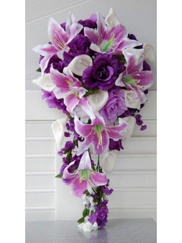 Calla lily, Purple, Lavender and White Wedding Bridal Cascade Wedding Bouquet