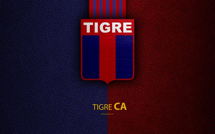 Download wallpapers Club Atletico Tigre, 4k, logo, Victoria, Buenos Aires, Argentina, leather texture, football, Argentinian football club, Tigre FC, emblem, Superliga, Argentina Football Championships, First Division