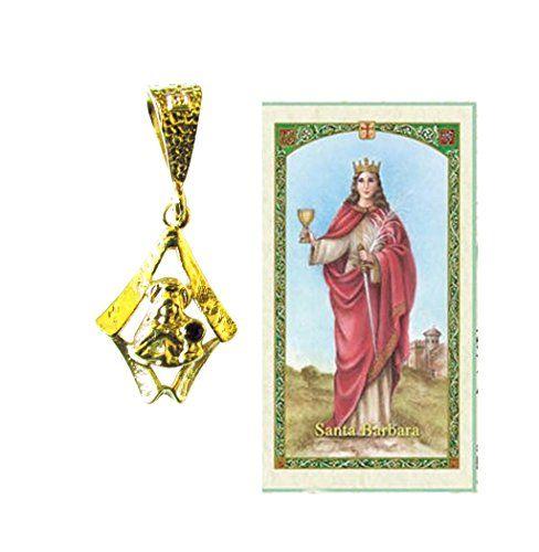 Santa Barbara Medalla Enchapada Oro 14k Incluye Postal De Rezo Bendecida Por Su Santidad. enchape de oro 14k con base de aluminio anodizado -. medalla con diseño exclusivo - piedra roja -. incluye tarjeta de rezo bendecida por Su Santidad Francisco.