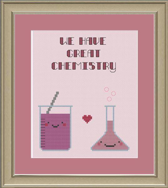 We have great chemistry: nerdy science cross-stitch pattern
