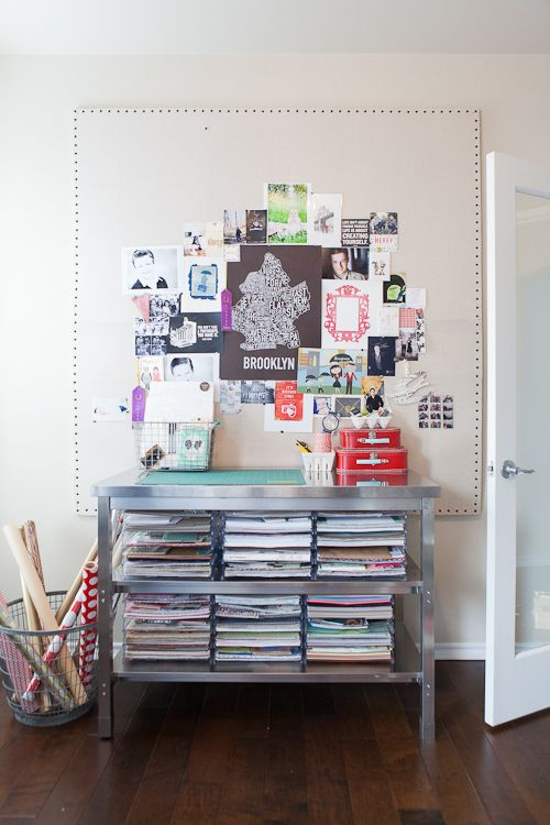 Home office. From the Living With Kids Home Tour featuring Candice Stringham.: Candice Stringham, Giant Pinboard, Kids Art Wall, Industrial Table, Features Candice, Bulletin Boards, Crafts Tables, Offices Storage, Home Offices