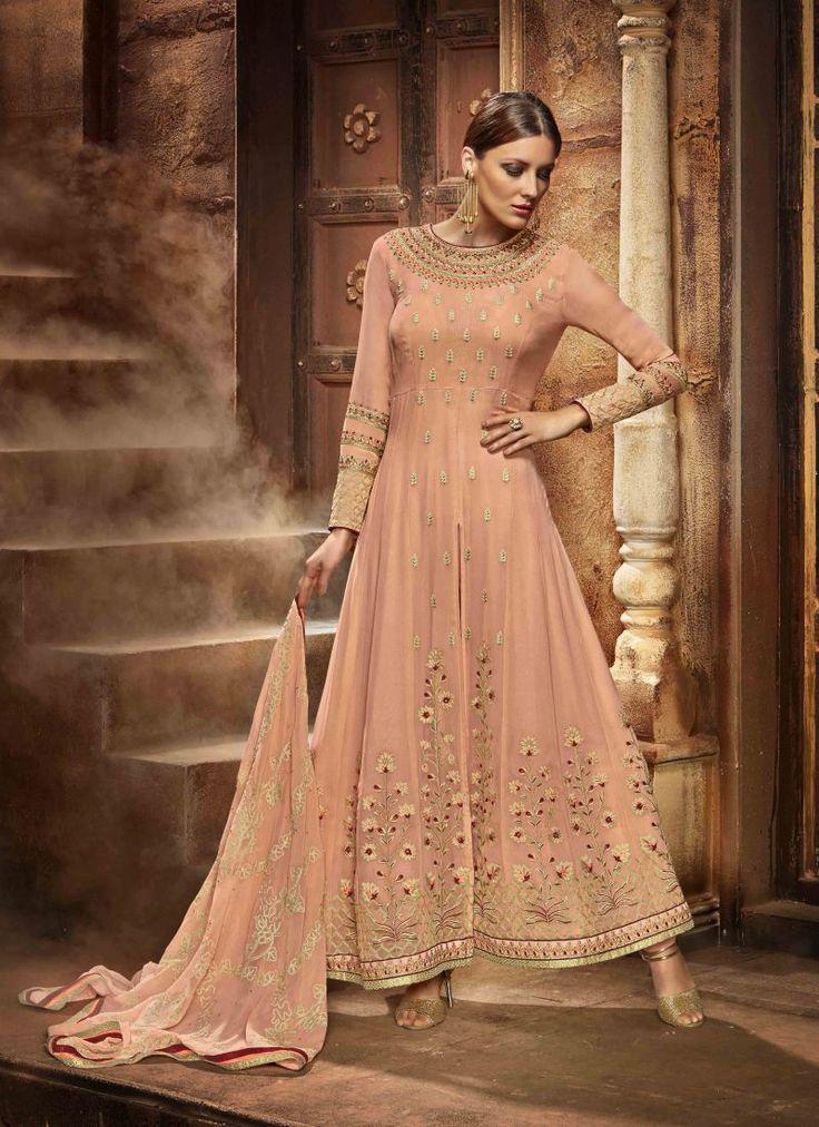 Fancy Designer Anarkali Collection Beige Colored Salwar Suit