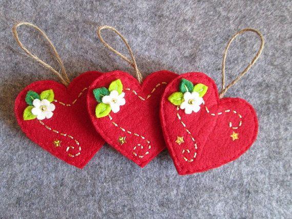 Ornamento in feltro Ornamento con Cuore Ornamento di Natale
