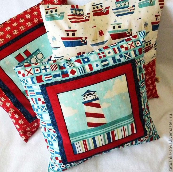 Купить Наволочки Морские - 2 - море, наволочка, маяк, наволочки на подушки, подушка, детская, штурвал