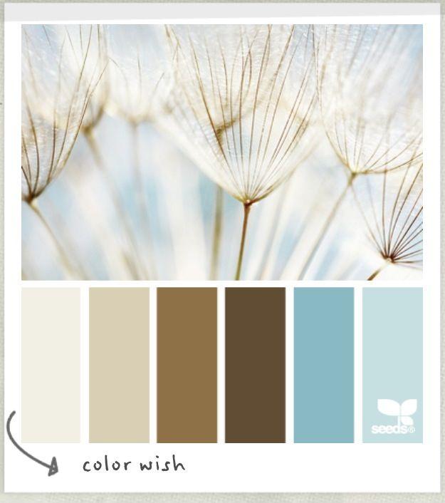Bedroom colour palette Pale blue, tan and cream for linen.