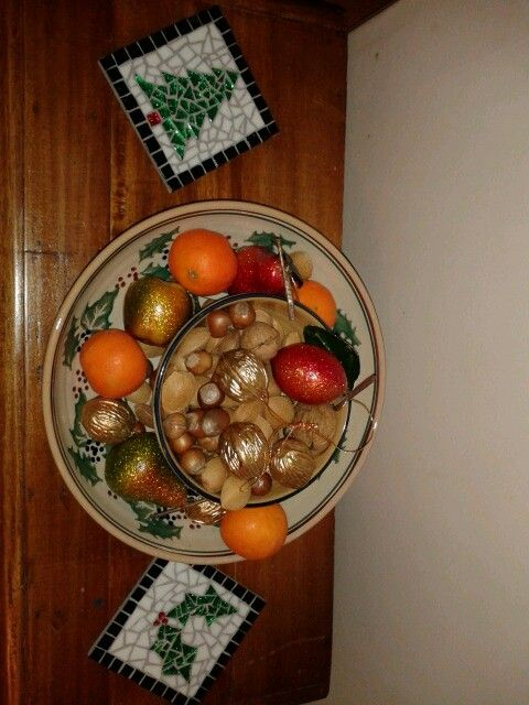 Christmas mosic and nuts