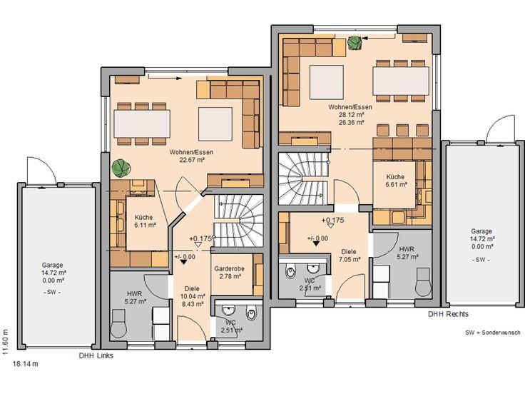 Innenarchitektur skizze grundriss  92 besten Doppelhaus Bilder auf Pinterest | Grundrisse, Grundriss ...