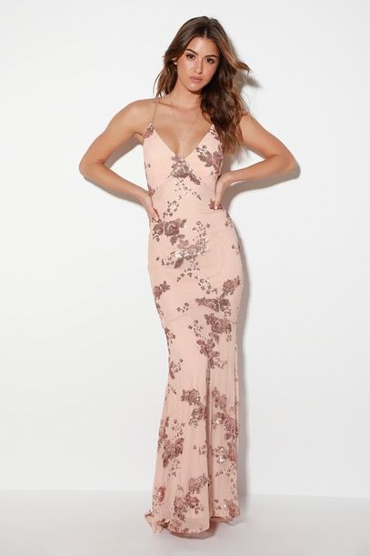 VALHALLA ROSE GOLD SEQUIN LACE-UP MAXI DRESS  6284f2111