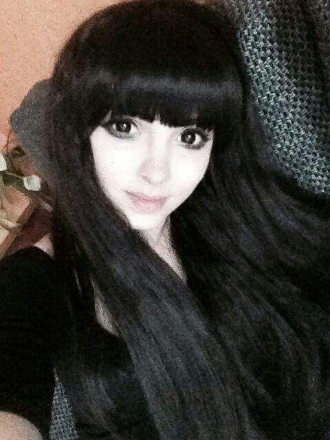 #black #long #hair #black #outfit #dark #eyes #cute