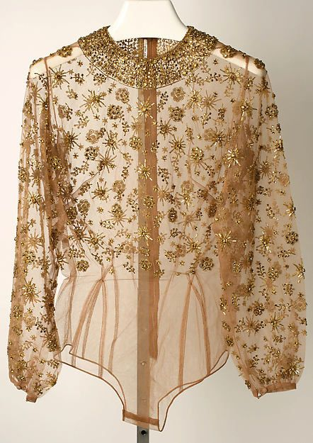 Evening blouse, Mainbocher ca. 1950. I notice it's a step-in shirt.