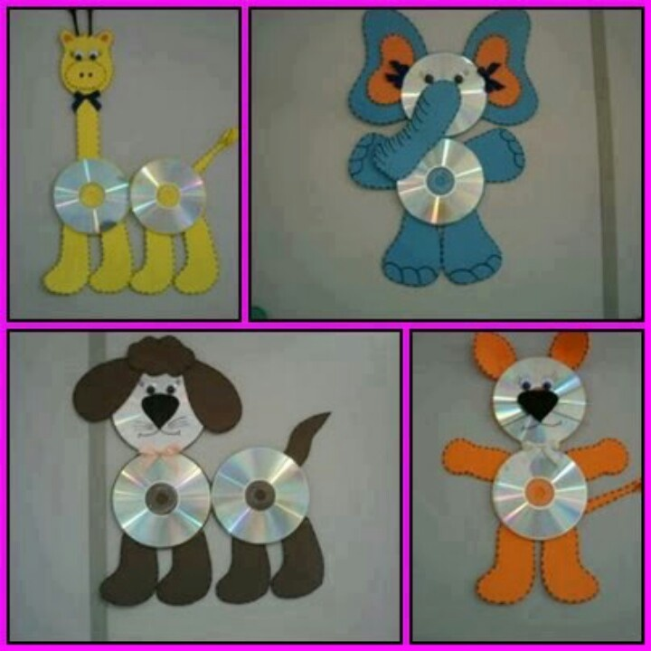 cd Animal crafts - maybe a little to 'kiddie' like for our Seniors but use this as an idea launcher for what part of a picture could we use an old cd for