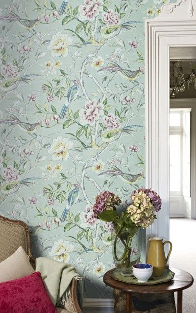 Lotus Blossom Vintage (1601/284) - Prestigious Wallpapers - An elegant all over wallpaper design featuring trailing lotus blossom's and love birds. Shown here in vintage. Other colourways are available. Please request a sample for a true colour match. Wide width product. 70 cm pattern repeat. Paste-the-wall product.