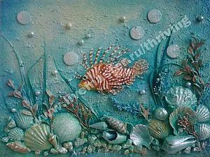 """Создание коллажа в технике терра """"На морской глубине"""" - Ярмарка Мастеров - ручная работа, handmade"""