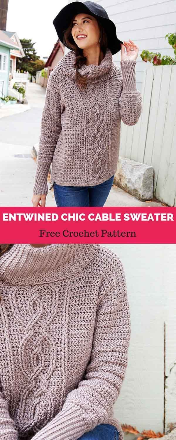 Entwined Chic Cable Sweater Free Crochet Pattern Crochet