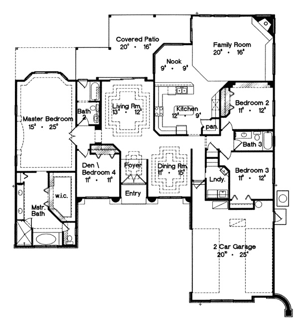 First floor for house plan 047d 0144 floor plans for Db ranch