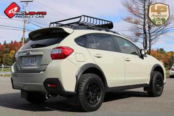 Brand: Subaru Model: Crosstrek Year: 2016Color: Kaki Modifications: Lift kit: LP Aventure Tires: 215/75R15 BFGoodrich All Terrain T/A KO2Wheels: Method Racing Wheels MR502 VTSpec 15x7 +15Cargo basket: Yakima LoadwarriorMuffler: Lachute Performance muffler deleteMudflaps: Rally Armor