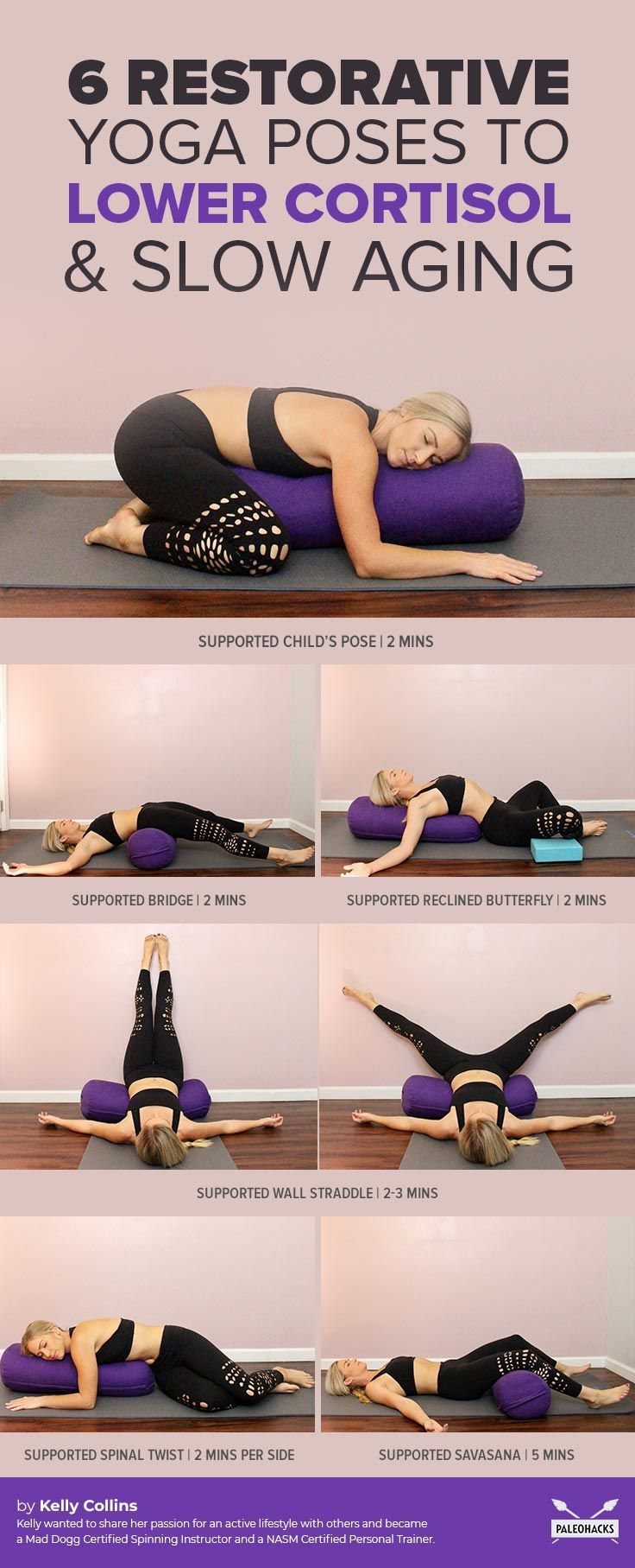 Melt Into This Restorative Yoga Routine To Lower Cortisol Slow Aging Restorative Yoga Poses Restorative Yoga Health And Fitness Articles