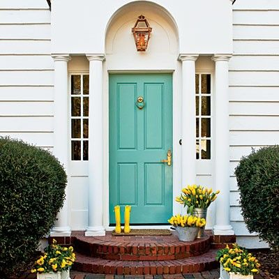 turquoise: Yellow Flowers, The Doors, Front Doors Colors, Blue Doors, Paintings Colors, Turquoise Doors, Curb Appeal, House, Turquoi Doors