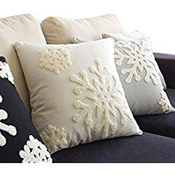 "E.life Soft Square Christmas Snowflake Theme Home Decorative Canvas Cotton Embroidery Throw Pillow Covers 18x18"" Case Cushion Cover Decorative Decor for Couch Bed Chair(1Pcs, White)"