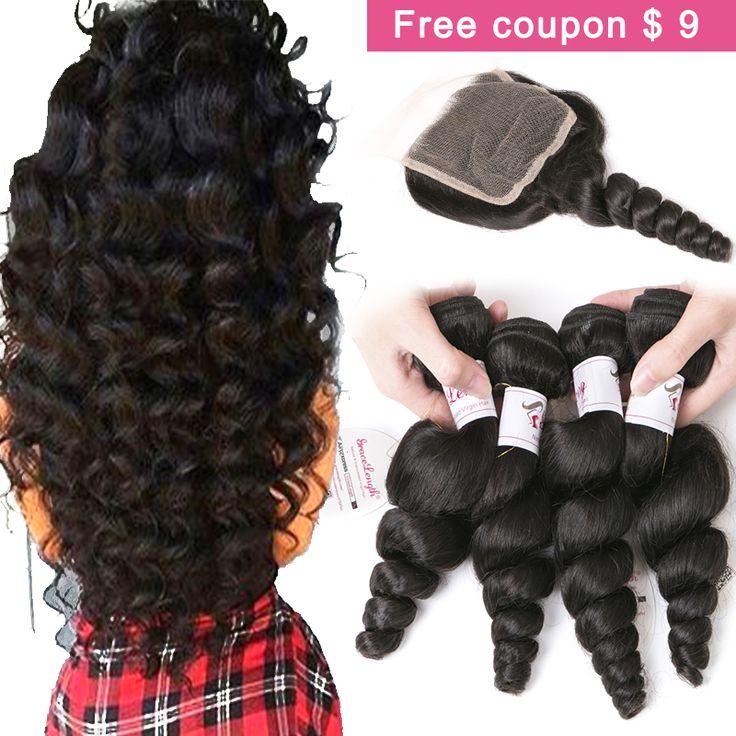 7A Brazilian Virgin Hair 3/4 bundles With Closure Rosa Hair Products Brazilian Loose Wave With Closure Human Hair Weave Bundles