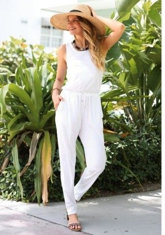 Overal bez rukávů #Modino_cz #overal #coverall #white #fashion #summer #style #lady #garden