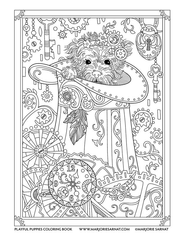 Steampunk Pup : Playful Puppies Coloring Book by Marjorie Sarnat