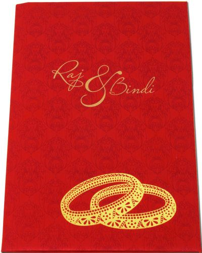 A elegant soft padded card made from quality color satin cloth Card front is covered with designer imprints, and you can customize religious or name of bride and groom or initials in laser cut to make it more attractive.