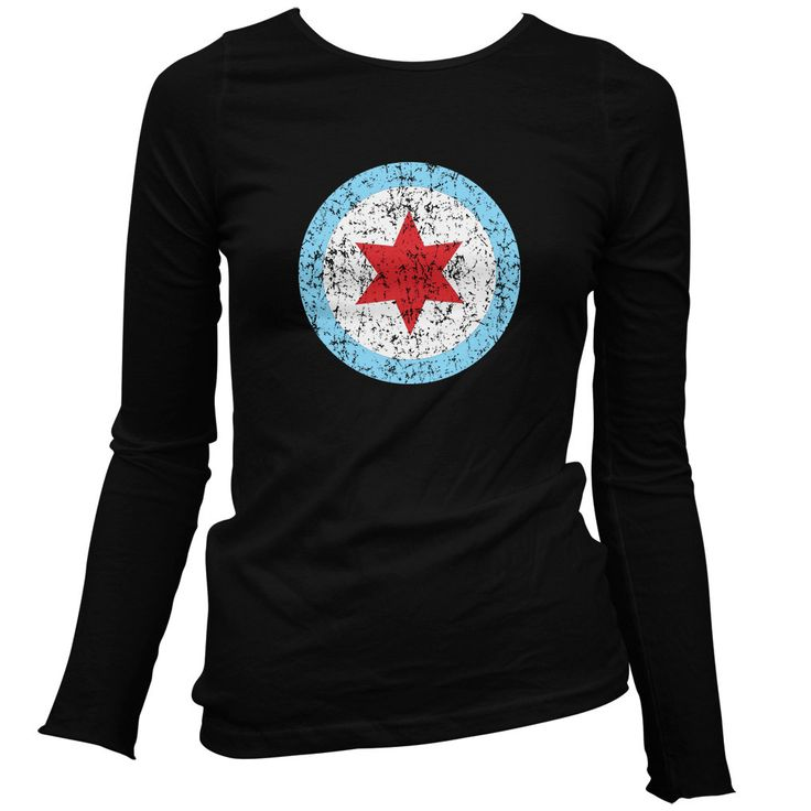 Women's Chicago Insignia Long Sleeve Tee - LS Ladies T-shirt - S M L XL 2x - Chicago Shirt Windy City Flag - 4 Colors
