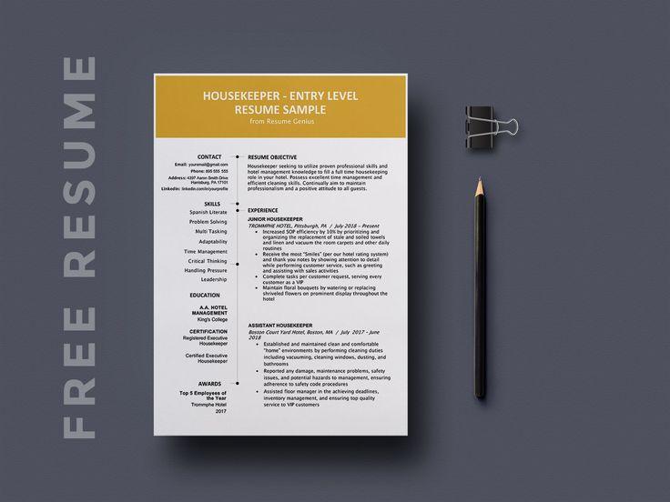 Free entry level housekeeping resume template resume
