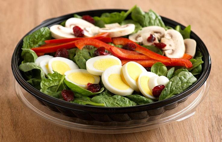 Hard-boiled eggs are the perfect pair to spinach for this vitamin- and protein-packed salad! When you need a lunchtime energy boost, try the Spinach Salad, complete with fresh veggies, eggs and cranberries for a little bit of sweetness.  Ingredients:   2 lb. 8 oz.*Hard-Boiled Eggs, Large, Sliced   3 lb. 2 oz. Fresh Baby Spinach   1 lb. 4 oz. Fresh Sliced Mushrooms   1 lb. 8 oz. Sweet Red Pepper Strips   1 lb. 2 oz. Dried Cranberries  (USDA #100301)   20 pieces Balsamic Vinaigrette, 1 oz…