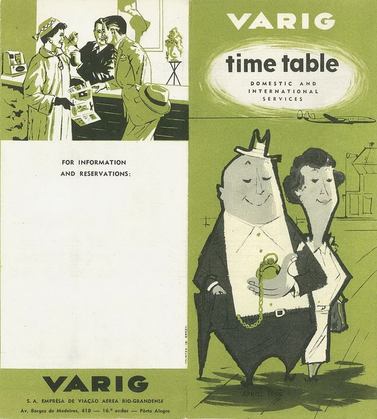 VARIG Airlines Timetable from 1956