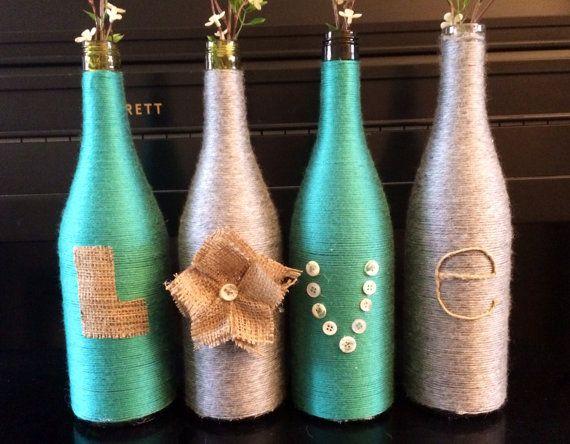 Hilo envuelto botellas vino envuelve botellas con por HomeEcQueen                                                                                                                                                                                 Más