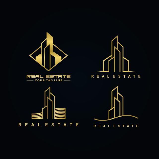 Real Estate Gold Color Logo Set Modern Building Symbol Png And