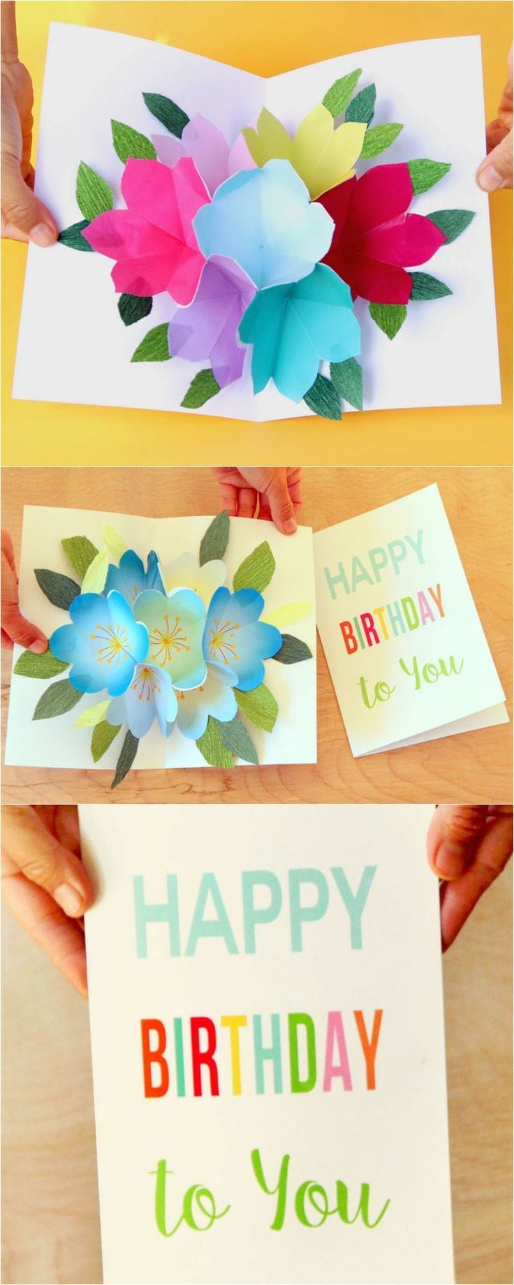 Free Printable Happy Birthday Card With Pop Up Bouquet Happy Birthday Cards Printable Grandma Birthday Card Birthday Card Pop Up
