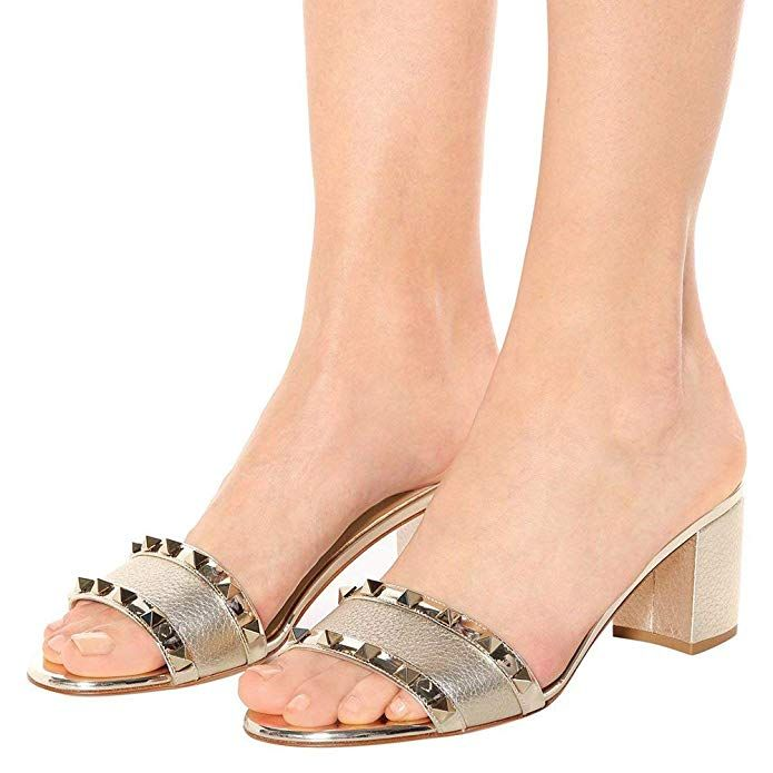 a3ddbada7d54f Amazon.com   Ayercony Rivet Shoes, Block Heel Sandals Open Toe Mule ...