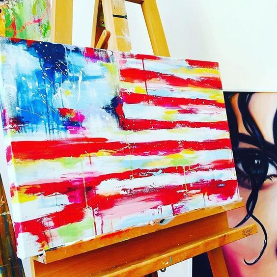 American Flag Abstract Painting by Lana Moes