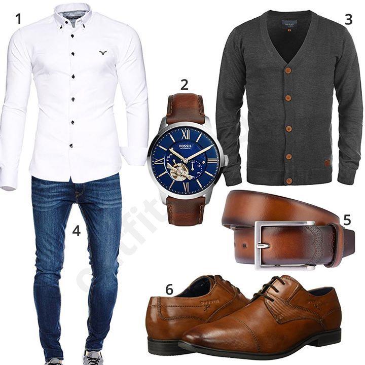Elegantes Business-Outfit mit weißem Kayhan Hemd, Jack & Jones Jeans, grauer Blend Strickjacke, Fossil Uhr, braunem Lloyd Gürtel und Bugatti Halbschuhen. #outfit #style #fashion #womensfashion #womensstyle #womenswear #clothing #styling #outfitfrauen #frauenmode #damenmode #handtasche #inspiration #outfitfrauen #frauenoutfit #damenoutfit #cloth