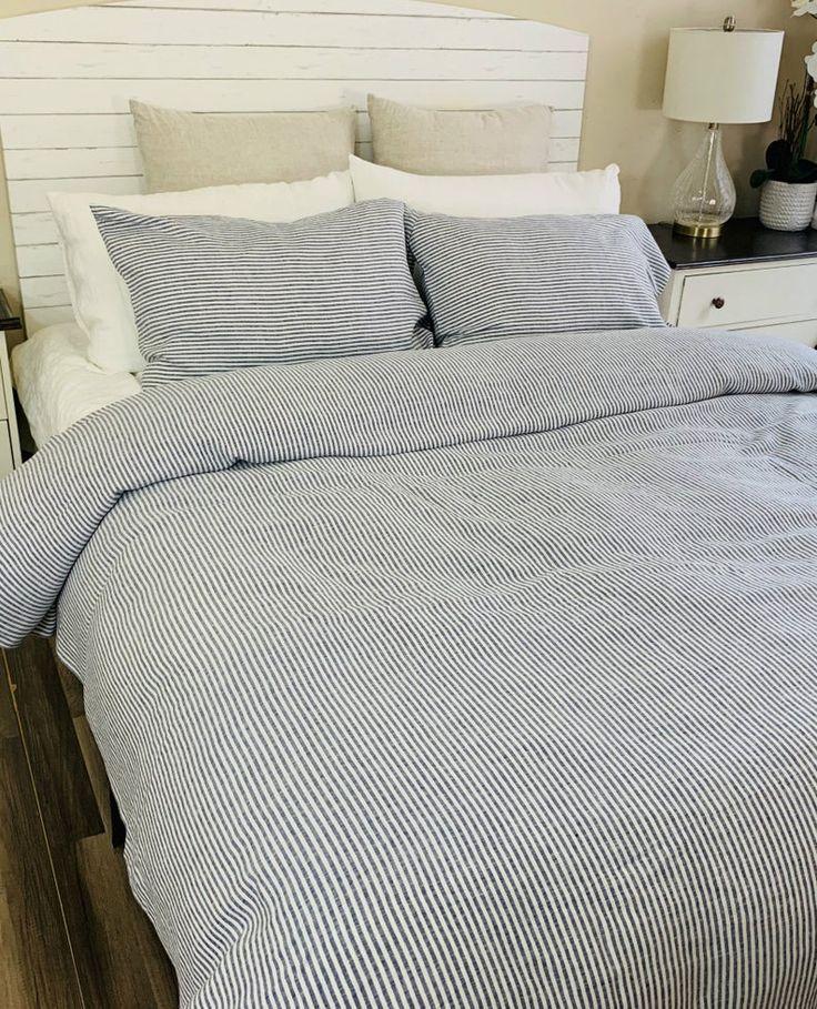 Navy And Whites Striped Duvet Cover Natural Linen 100 Flax Etsy Striped Duvet Covers Duvet Covers Custom Duvet