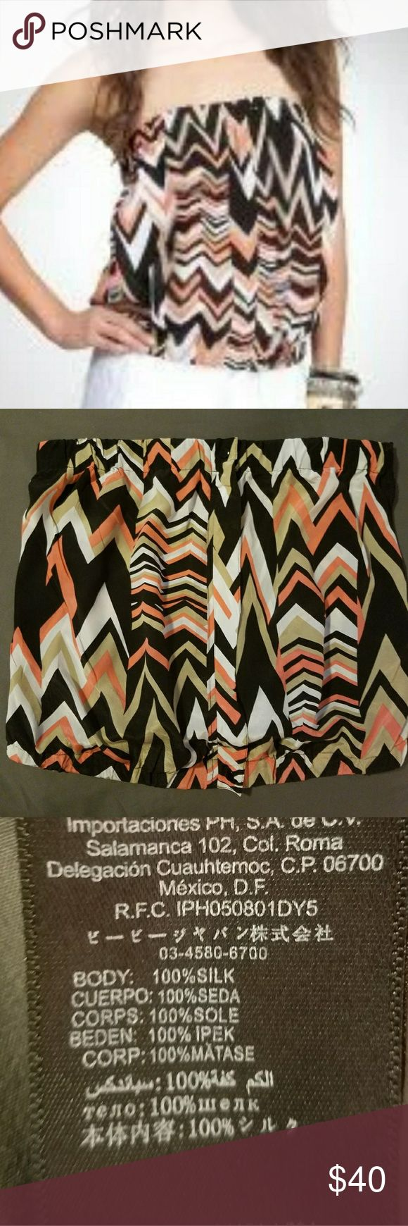 BEBE Chevron Top BEBE Top -chevron print -2 faux buttons -salmon,black,white,and taupe -100% silk bebe Tops