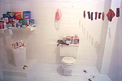 """Menstruation Bathroom"", Judy Chicago, 1972 Chicago described her room as ""very very white and clean and deodorized — deodorized except for the blood, the only thing that cannot be covered up. However we feel about our own menstruation is how we feel about seeing its image in front of us."""