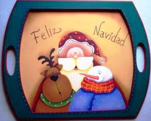 Se acerca navidad, fijate en esta bandeja en madera con la tecnica de country esta divina.