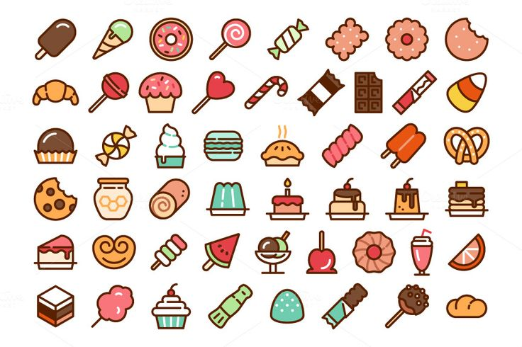 50 Candy Icons http://bit.ly/1EfZLmv #digitalart #graphicdesign #webdesign #icons #vector