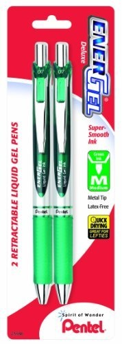 Pentel EnerGel Deluxe RTX Retractable Liquid Gel Pen, 0.7mm, Metal Tip, Green Ink, 2 Pack (BL77BP2D) by Pentel, http://www.amazon.com/dp/B0047CP6UQ/ref=cm_sw_r_pi_dp_y1uSqb0MF4YW2